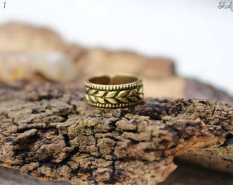 Brass Toe Ring, Tribal Toe Ring, Ethnic Toe Ring, Adjustable Ring, Boho Chic Ring, Knuckle Ring, Midi Rings, Psy Jewellery, Bague Laiton