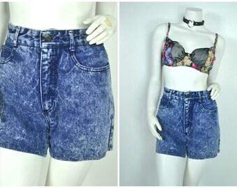 90s 80s high waisted blue jean dark Acid wash denim shorts