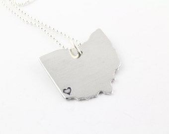 Ohio Necklace - State Outline Necklace - I Love Ohio Necklace - Graduation Gift for Graduate - Cincinnati Necklace - Columbus Necklace
