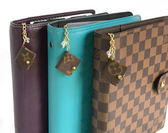 Louis Vuitton Planner Agenda Charm with Authentic Upcycled Canvas and Swarovski Cyrsyal