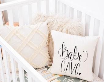 Girls Nursery, Baby Girl, Babe Cave, Woman Cave, Hand drawn, Nursery Pillow, 16 x16, Handwritten, Makeup Room, Woman Cave Craft Room Ladies