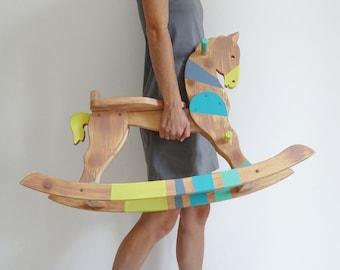 Rocking Horse, Wooden rocking toy, Horse rocker, Gender neutral baby gift, Ride on toy, Balance toy, Pastel rainbow, Montessori inspired toy