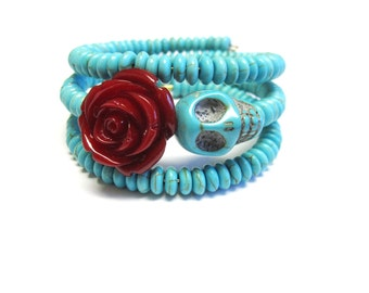Day Of The Dead Bracelet Sugar Skull Jewelry Cuff Wrap Turquoise Blue Dark Red Rose