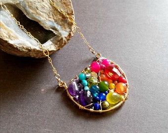 Woven Rainbow Necklace, Rainbow Gemstone Pendant, Chakra Gemstone Necklace:  Ready Made