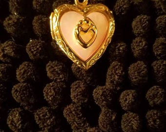 Valentine Heart Gold on/925,Silver,Double Sided Locket with Lovers Embracing in Gold Figurines