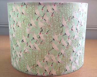 "Small Drum Lampshade - Mint Green Cranes -20cm diameter x 18cm high (8"" x 7"")"