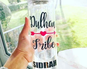 Dulhan Tribe Water Bottle - bride tribe, pakistani wedding, indian wedding, muslim wedding, bridal gift, wedding gift, custom water bottle