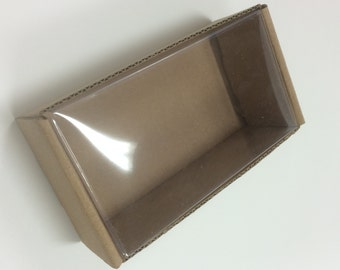 Heavy Kraft Cardboard Boxes set of 12 - Clear Top - 4 3/4 x 2 5/8 x 1 5/8 - Perfect Size for Smal Gifts or Packaging