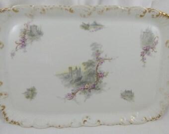 Antique Limoges French Porcelain Dresser Vanity Tray FRENCH CASTLES Floral