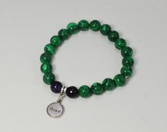 Malachite Bracelet . Malachite Peace Bracelet . Green Bead Bracelet . Green Peace Bracelet . Boho Green Jewelry . Boho Peace Bracelet