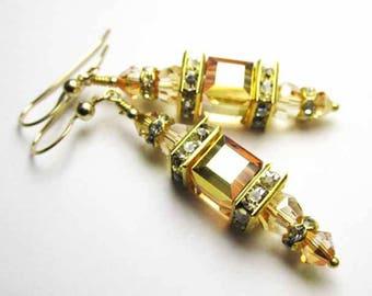 Light Golden Topaz Swarovski Cube Lantern Earrings on 14k Gold Fill Wires