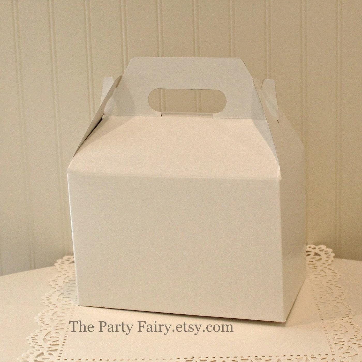 Favor Box, 6 White Gable Boxes, Favor Box, Wedding Favor Box, Party ...