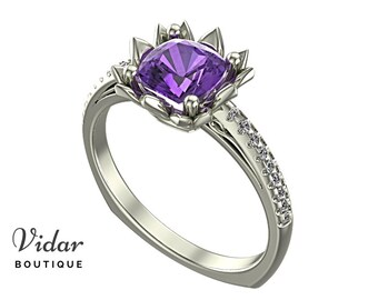 Flower Engagement Ring,Unique Engagement Ring,diamond Engagement Ring,cushion,purple,Amethyst Engagement Ring,lotus,floral,Engagement Ring