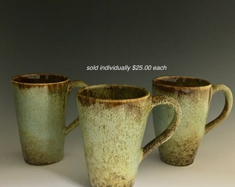 Handmade Ceramic Tumbler Tall Mug Green Turquoise Brown Caramel T18-4 T18-5 T18-6
