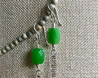 Faceted Grass Green Chalcedony Long Sterling Silver Fringe Earrings