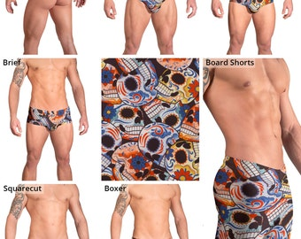 Happy Skulls Swimsuits for Men by Vuthy Sim.  Thong, Bikini, Brief, Squarecut, Boxer, or Board Shorts - 152