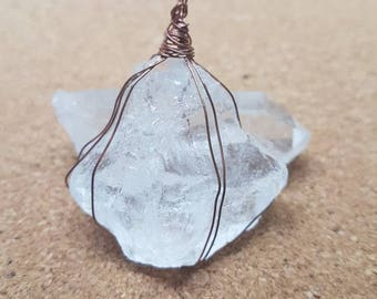 Raw Clear Quartz Necklace - Wire Wrapped Crystal - Healing Gemstone Jewellery - Clear Quartz Pendant