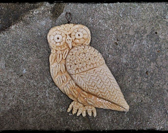 Owl Ornament Salt Dough hand formed bas relief