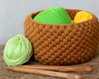Crochet Pattern for a Wool Basket. PDF Instant Download.