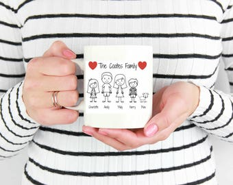 Personalised Stickman family mug