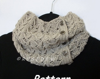 Instant Download to PDF CROCHET Pattern: Slouchy Arrowhead Buttoned Neck Warmer
