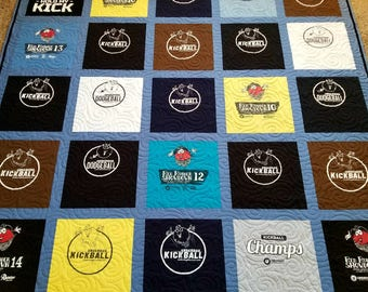 Tshirt quilt. Memory keepsake t-shirt quilts made from 9 to 49 tee shirt...College t shirt quilt. Deposit only!