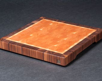 LW0064 - Cherry End Grain Cutting Board Framed with Maple and Walnut