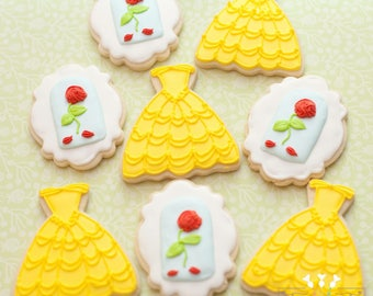 Beauty and the Beast Theme // Belle // Princess // Dress // Gown// Roses // sugar cookies (one dozen cookies) // birthday favors
