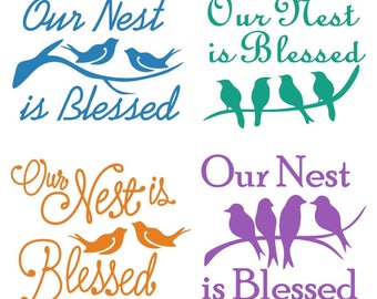 Our Nest is Blessed Family Cuttable Design PNG DXF SVG & eps File Silhouette Designs Cameo