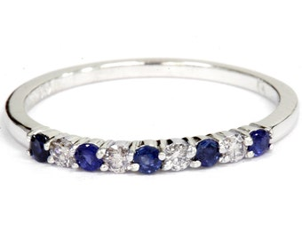 Blue Sapphire Diamond Ring, Round Sapphire Diamond Band 1/4CT Prong Set Wedding Anniversary Stackable Ring 10K White Gold SZ (4-9)
