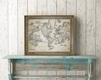 Vintage world map etsy gumiabroncs