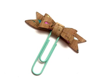 Cute cork fabric bow planner paperclip with rainbow flecks. Planner charm, Bow charm