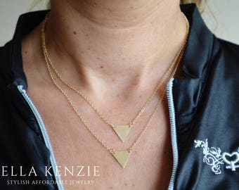 Triangle Necklace Gold, Triangle Necklace Silver, Double Triangle Necklace, Layered Triangle Necklace, Triangle Charm Pendant Necklace Gold