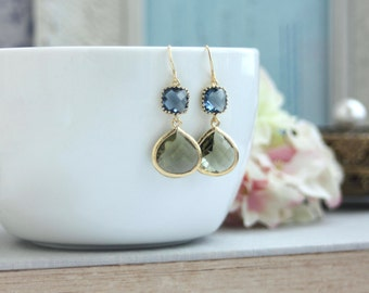 Navy Blue Olive Green Glass Framed Gold Drop Earring Bridesmaid Gift Modern Minimalist Navy Blue and Green Olive Wedding Birthday Gift Ideas
