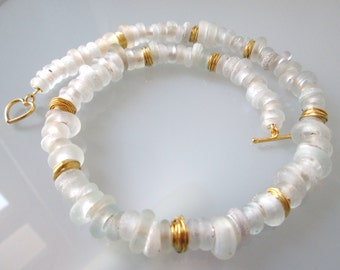 """Necklace """"Snow"""" from Dutch ring beads/glass beads old/Dogonringe/white/gold/wrapping Beads Hilltribe Silver/Gift Women/"""