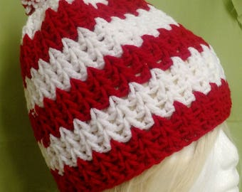 Handmade crocheted Chevron hat in red and white.  Adult medium/large.