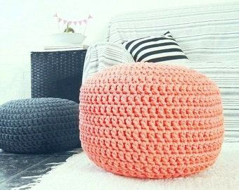 Coral Peach Large Ottoman, Nursery Footstool Pouf, Round Floor Pillow, Seating Cushion, Knit Pouffe