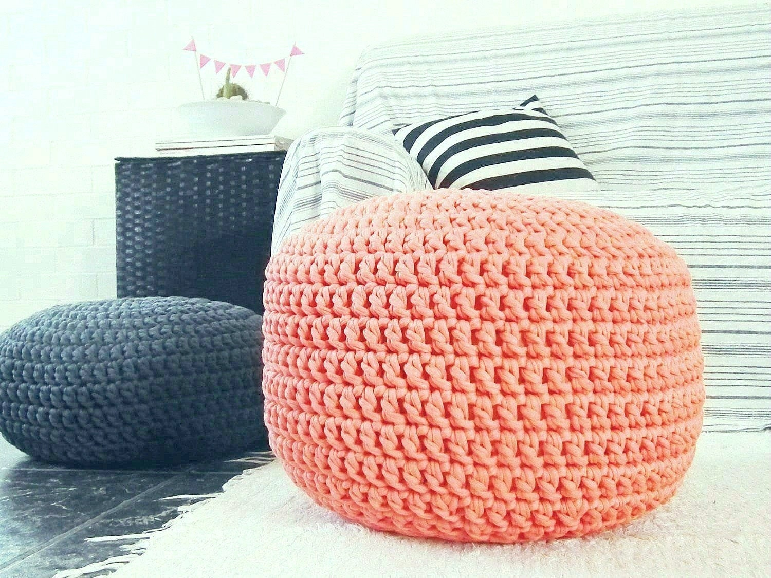 Coral Large Nursery Footstool Peach Pouf Ottoman Round Floor