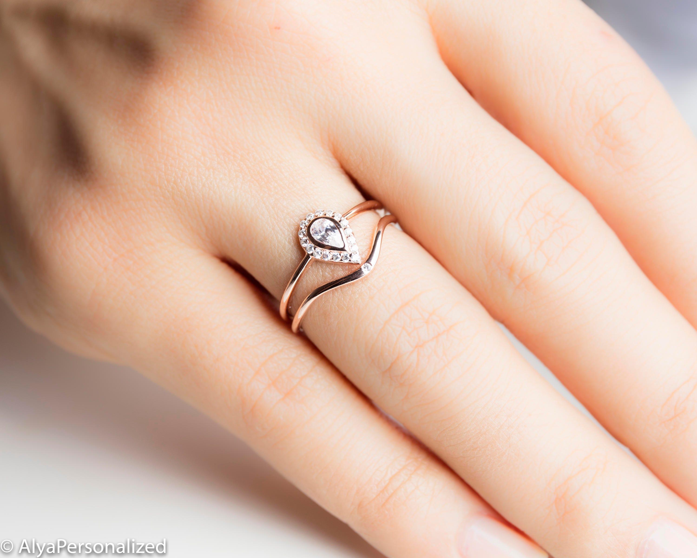 Pear Diamond Wedding Ring Set Unique Wedding Ring Women