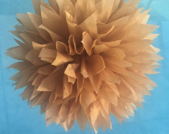 LIGHT BROWN / 1 tissue paper pom pom / wedding decorations / birthday decor / baby shower / nursery decor / birthday decor / neutral