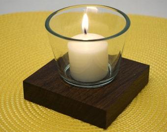 Black Walnut Votive Candle Holder - Single
