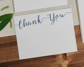 Navy Blue Flat Thank You Card - Printable navy Thank You card - Wedding - Shower - Calligraphy Script Font - A2 - 4.25 x 5.5 Inches -GD0912