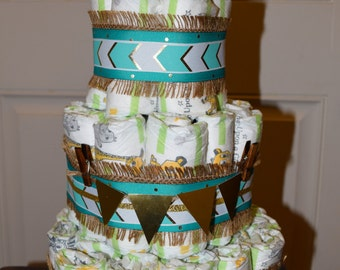 Gold and Teal Diaper Cake/Teal/Gold/Baby Shower/Diaper Cake/Gold Diaper Cake/Teal Gold/Baby Shower
