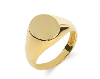 14k solid gold signet ring. engravable ring, pinkie ring