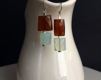 Faceted Rectangle Aqua Blue Chalcedony And Rust Chalcedony Dangle Earrings With Sterling Silver Accents