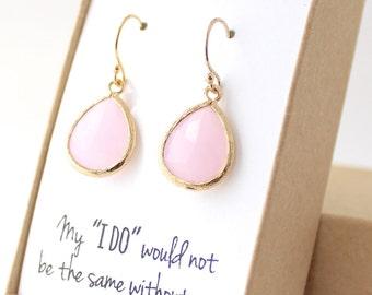 Blush Pink / Gold Teardrop Earrings - Blush Pink Earrings - Pink Bridesmaid Earrings - Bridesmaid Gift Jewelry - Pink Teardrop Earrings EB1