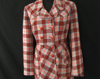 Vintage 1970s Motown Red Grey Checked Flared Jacket