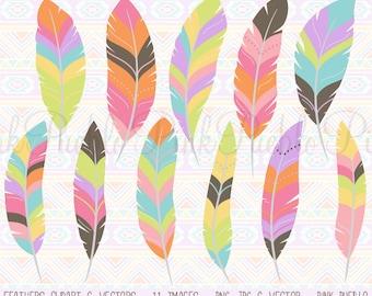 Feather Clipart Clip Art Vectors, Tribal Feather Clip Art Clipart Vectors - Commercial and Personal