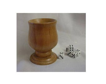 """Dice cup with a stem is 4.5"""" tall and 3.5"""" dia.  Handcrafted from assorted wood."""