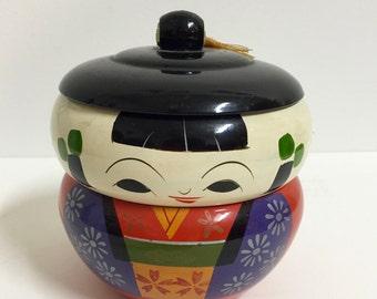 Vintage Asian Laquer Kokeshi Stacking Doll/ Vintage Asian Decor